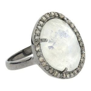ADORNIA Sterling Silver Diamond Halo Moonstone Rin